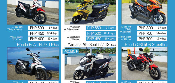 Bohol Scooter Rental Rates Prices