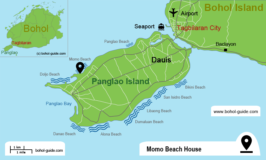 Momo Beach House Location Map