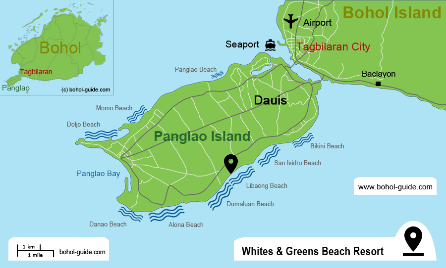 Whites and Greens Beach Resort Location